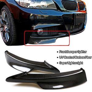 2 Stueck Real Carbon Frontstossstange Splitter Lippe links und rechts kompatibel mit BMWs E90 335i 328i LCI M-Tech 2009-2012 Modelle