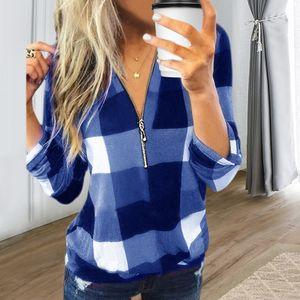Damen Langarm V-Ausschnitt Top Zip Check Print Shirt,Farbe: Blau,Größe:L