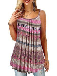 Damen bedruckte Weste Casual ärmelloses Sling T-Shirt Top,Farbe: Khaki,Größe:5XL