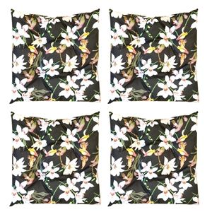 4er Set Sitzkissen Stuhlkissen 40x40 Stuhlauflage Indoor u. Outdoor Sitzauflage (Blumen Muster/Schwarz, 40 x 40 cm, 4 Stück)