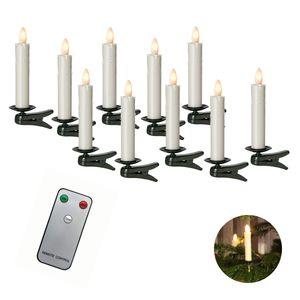 Sompex Shine LED Weihnachtsbaumkerze | Fernbedienbar | Multi LED Technologie | Spritzwasserschutz (IP44) | Kunststoff, Höhe:10er Set