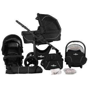 Bergsteiger Capri Kinderwagen, Farbe: black edition / Gestell: anthrazit, 3-in-1 Kombikinderwagen, inkl. Babyschale, Babywanne, Sportwagen und Zubehör