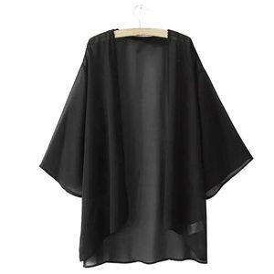 Sommer Frauen Chiffon einfarbig offene Vorderseite Kimono Bikini vertuschen Strickjacke Mantel schwarz M.