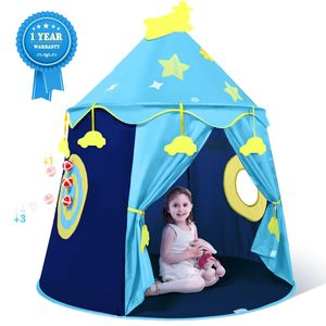 Peradix Castle Spielzelt Spielzeug, Kinder Prinz Pop Up Zelt Spielhaus Geburtstagsgeschenk für Jungen Mädchen Kinder Kleinkinder Indoor- und Outdoor-Spiele mit Tragetasche (blau)