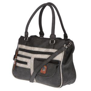 Christian Wippermann große Damen Tasche Schultertasche Umhängetasche Henkeltasche Leder Optik Bag Anthrazit