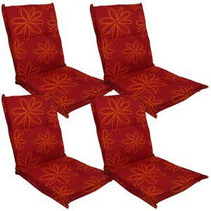 Niedriglehner Auflage Naxos für Gartenstühle 4er Set 98x49 cm Blume Rot - 6 cm starke Premium Stuhlauflage mit Komfortschaumkern – Sitzauflage  EU