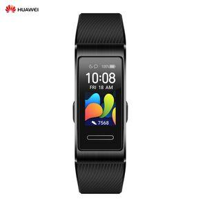 HUAWEI Band 4 Pro 0,95-Zoll-Voll-AMOLED-Touchscreen-Smartband Uhrengesichter Wasserdichtes BT-Sport-Fitness-Tracker-Armband mit mehreren Trainingsmodi Integriertes GPS Wearables mit Silikonkautschukband Tragbares Zubehoer