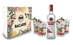 Bacardi Geschenkset - Bacardi Razz Rum Himbeergeschmack 0,7L (32%Vol) mit 4er Set Longdrinkglas