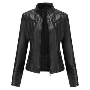 Damen Slim-Fit Leder Stehkragen Reißverschluss Motorradanzug Thin Coat Jacke Größe:S,Farbe:Schwarz