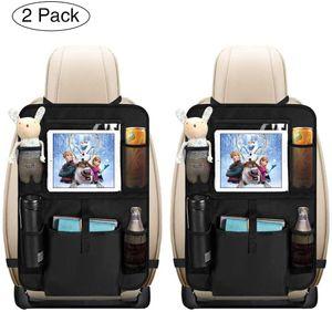 Auto Rückenlehnenschutz,2 Stück Auto Rücksitz Organizer für Kinder, Große Taschen und iPad-/Tablet-Fach, Wasserdicht Autositzschoner, Kick-Matten-Schutz für Autositz (2x62x42 cm)