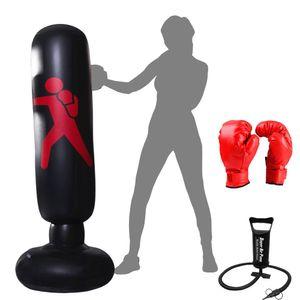 Boxsack Erwachsene 160 cm, Standboxsack Boxsack Stehend Aufblasbare Boxsäcke Tumbler Erwachsene  Fitness Dekompression Sandsäcke Kick Kampftraining, Mit manueller Luftpumpe und Boxhandschuhen (Schwarz)
