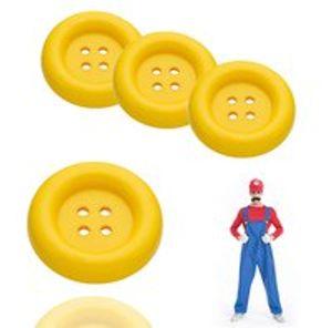 4x Super XL Knöpfe Kopf Mario 4 cm gelb für Kostüm, Verkleidung, Erwachsene
