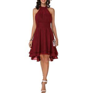 Frauen Ärmelloses Chiffon-Kleid Unregelmäßiger Saum Partykleider, Weinrot, S