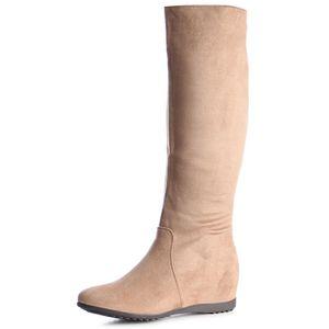 topschuhe24 1019 Damen Stiefel Boots Keilabsatz Glitzer, Farbe:Hellbraun, Größe:41 EU