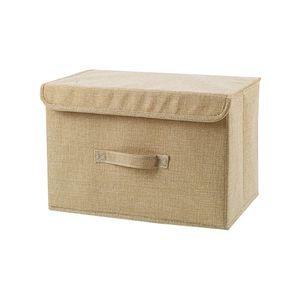 Zusammenklappbare Aufbewahrungsbox mit Deckel Veranstalter Container Waschbar,Farbe: Beige,Größe:38x25x25cm