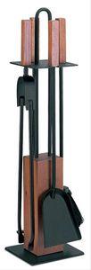 Kaminbesteck / Kamingarnitur Lienbacher schwarz Holz 4tlg H 65cm