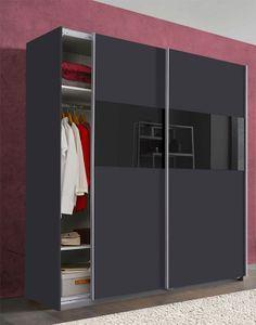 Schwebetürenschrank Kleiderschrank Bramfeld graphit / schwarzglas 180cm