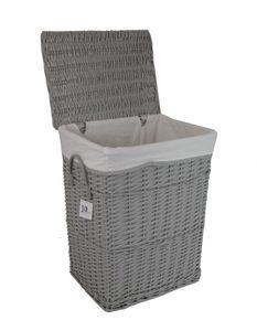 Wäschekorb Wäschetonnen Wäschetruhe Weide grau rechteckig 60L Bezug Deckel 40x30 H.55