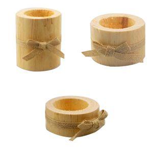 3pcs Teelichthalter Set aus Holz Handgefertigt Rustikale Tisch-Deko Weihnachtsdeko Holz-Deko Windlicht Halter
