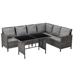 SVITA MADISON Polyrattan Lounge Gartenmöbel Rattan Set in grau