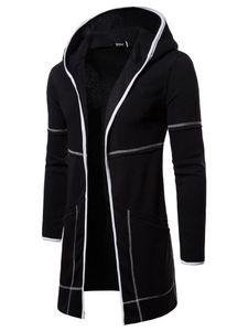 Herren Long Cardigan Hooded Sweatshirts Casual Zip Up Hoodies Jacken Mantel Oberbekleidung,Farbe: Schwarz,Größe:XL