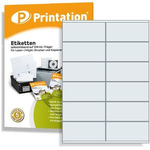Printation 1200 Universal Qualitäts Etiketten 105 x 48 mm selbstklebend weiß bedruckbar - 100 DIN A4 Bogen á 2x6 105x48 Labels - 3424 6175 4457 4627