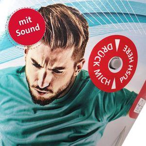 Schultüte groß Fußball-Star mit Sound 70 cm - rund Rot(h)-Spitze Filzverschluss - Zuckertüte