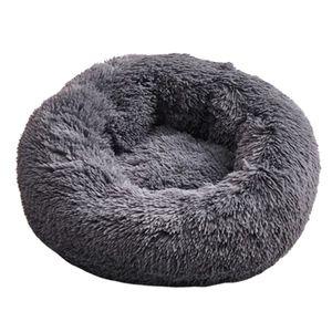 Haustier Bett Soft Dog Lounger Snooze Slepping Donut Kissen Matte Pad Dunkelgrau M. Grau Modern Nistbett