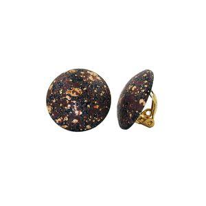 Clip Ohrring 20mm schwarz-braun-gold-gefleckt Kunststoff-Bouton mehrfarbig 20mm