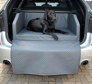 Hundebett Kofferraum Bett Grau S (90x70x38cm) Travel Autohundebett Schutzdecke Kunst Leder Autositz