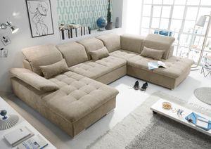 """Funktionale Couch """"Wayne"""" Sofa Schlafcouch Bettsofa Schlafsofa Sofabett Wohnlandschaft ausziehbar beige Ottomane rechts U-Form"""