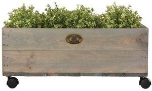 2 Stück Esschert Design Pflanzkasten auf Rollen M, 59 x 39 x 25 cm, aus Holz, Größe M, mit 4 Kunststoffrollen, Holzkiste, Holzbox, Aufbewahrungsbox