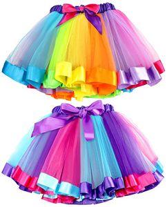 2Stk.Bunt Tüllrock Mädchen Regenbogen Tütü Kinder Tüllrock Ballettrock Tutu Regenbogen Rock für Kinder Mädchen, Mehrfarbig, Einheitsgröße (Etikett L)