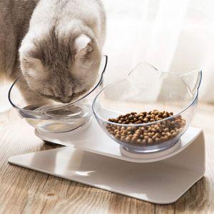 2in1 Katzennäpfe Futternäpfe Katze Gekippte,Doppelschüssel Hundenapf Katzennapf, 15° Gekippte Plattform katzennäpfe/Hundenapf für Katze Welpe Futter und Wasser
