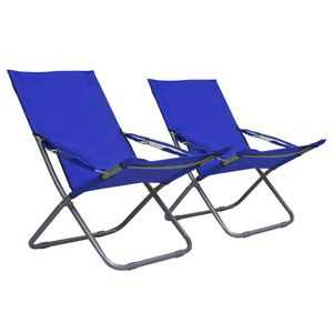 Klappbare Strandstühle 2 Stk. Stoff Blau - Balkonstuhl Terrassenstuhl Relaxstuhl Liegestuhl