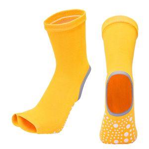Yoga Socken Frauen Rutschfeste Griffe Pilates Fitness Ballett Übungssocke Orange 21cm Fingerlos Yoga-Socken Gel-Silikon