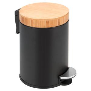 bremermann Kosmetikeimer mit Bambusdeckel, 3 L, matt schwarz