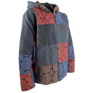 Kunst und Magie Herren  Patchwork Jacke mit Kapuze , Größe:S, Farbe:Mehrfarbig