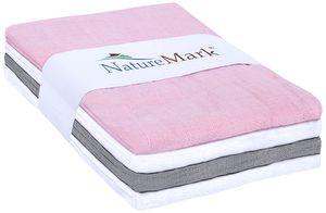 NATUREMARK Mulltücher SET 2 (1 Pink, 1 Silber grau, 2 Weiß) 70 X 70 CM (4 PC PACK)