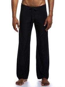 ydance Herren Lose Hosen Casual Ice Silk Yoga Pyjamahose Nachtwäsche Homewear,Farbe:Schwarz,Größe:XL