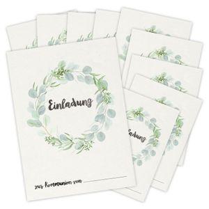 bigdaygraphix 10 Einladungskarten Kommunion Eukalyptus Grün Einladungen Mädchen Junge Blumen