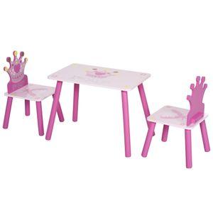 HOMCOM 3-tlg. Kindersitzgruppe mit 1 Kindertisch 2 Stühle Kindermöbel für 3+ Jahre Kinder Kiefer+MDF Rosa  55 x 34 x 42 cm