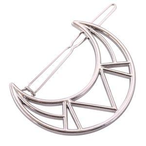Metall Haarclips Mond, Haarspangen, Haarnadeln, Haarspange, Haar Zubehör für Frauen und Mädchen, Geometrische Form Farbe Silber