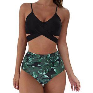 Women Leopard Print Bikini Set Push Up Bathing Swimwear High waist Swimsuit Größe:M,Farbe:Schwarz