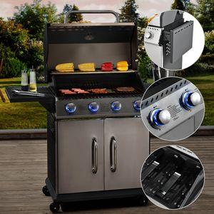 Juskys BBQ Gas-Grill Kansas | 4 Edelstahl-Brenner | Gusseisen-Grillrost, Thermometer, Warmhalterost & Fettauffangbehälter | Grillwagen Griller