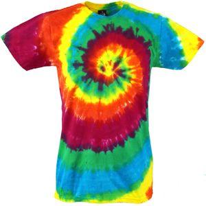Regenbogen Batik T-Shirt, Herren Kurzarm Tie Dye Shirt - Spirale 3, Mehrfarbig, Baumwolle, Größe: XL