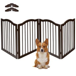 COSTWAY Absperrgitter Hunde, Schutzgitter Kieferholz, Kindergitter flexibel, Treppengitter Hundeabsperrgitter Tuerschutzgitter