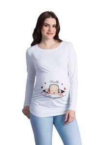 Hallo Lieblingsmensch - Langarm (Small, Weiß) Umstandsmode - Lustiges witziges süßes Langarm-Umstandsshirt mit Motiv für die Schwangerschaft / Schwangerschaftsshirt mit Aufdruck