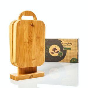 bambuswald© ökoligsches 6er Set Frühstücksbrettchen mit Ständer | 100% nachhaltiger Bambus - Frühstücksbretter Schneidebretter Brettchenständer Holzbrett