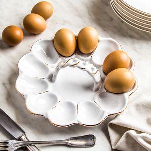 EIERTELLER für 12 Eier Eierplatte Porzellan Servierplatte Platte Teller 21,5 cm